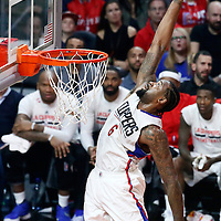 11 January 2017: LA Clippers center DeAndre Jordan (6) reaches for the ball during the LA Clippers 105-96 victory over the Orlando Magic, at the Staples Center, Los Angeles, California, USA.