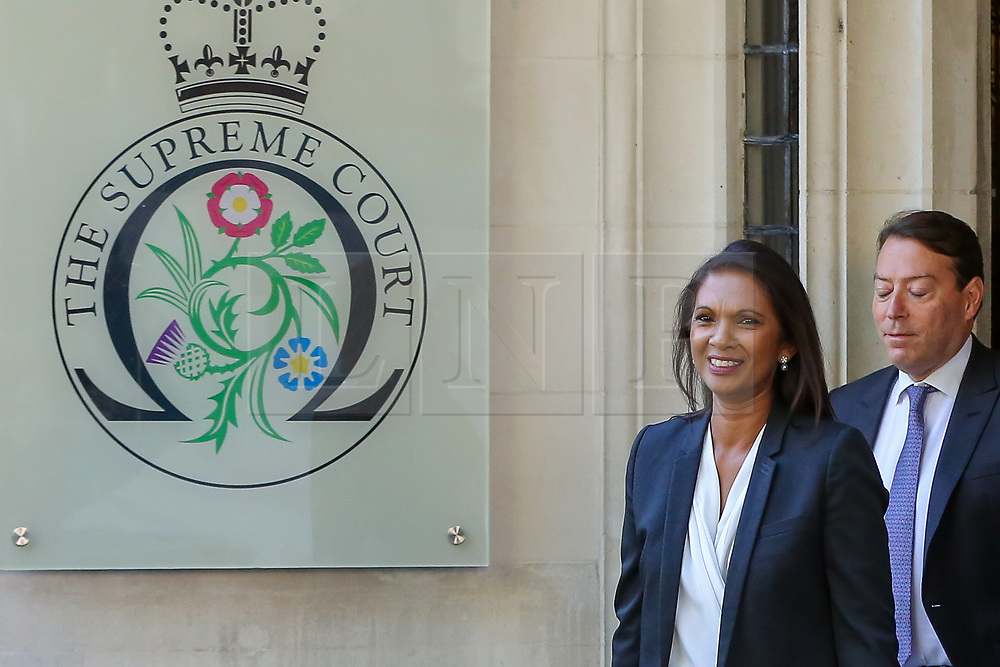 © Licensed to London News Pictures. 19/09/2019. London, UK. Businesswoman and political activist GINA MILLER leaves UK Supreme Court in London at the end of the three day appeal hearing in the multiple legal challenges against the Prime Minister Boris Johnson's decision to prorogue Parliament ahead of a Queen's speech on 14 October. Since Tuesday 17 September, eleven instead of the usual nine Supreme Court justices have been hearing the politically charged claim that Boris Johnson acted unlawfully in advising the Queen to suspend parliament for five weeks in order to stifle debate over the Brexit crisis. It is the first time the Supreme Court has been summoned for an emergency hearing outside legal term time. Lady Hale, the first female president of the court who retires next January, has been preside the Brexit-related judicial review cases. Photo credit: Dinendra Haria/LNP