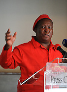 CAPE TOWN, SOUTH AFRICA - Thursday 11 September 2014, Julius Malema, leader of the Economic Freedom Fighters (EFF), addresses the Cape Town Press Club at the Kelvin Grove. Julius Sello Malema is the leader of the Economic Freedom Fighters, a South African political movement, which he founded in July 2013. He previously served as President of the African National Congress Youth League from 2008 to 2012. Malema was a member of the ANC until his expulsion from the party in April 2012. He occupies a notably controversial position in South African public and political life, having risen to prominence with his support for African National Congress president, and later President of South Africa, Jacob Zuma. He has been described by both Zuma and the Premier of Limpopo Province as the &quot;future leader&quot; of South Africa.<br /> Photo by Roger Sedres/ImageSA