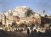 'Mosque of El Mecolla, Algiers'. The mosque ciewed from the busy street. Antoine Victor Edmond Joinville (1801-1849) French painter. Private collection.