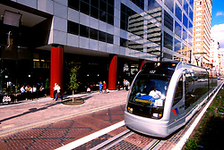 Downtown Houston metro light rail train