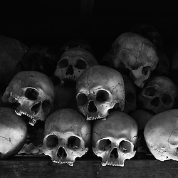 A pile of human skulls mark a genocide memorial outside the Cambodian capital of Phnom Penh. Between 1975-1979 the Khmer Rouge murdered nearly two million people.