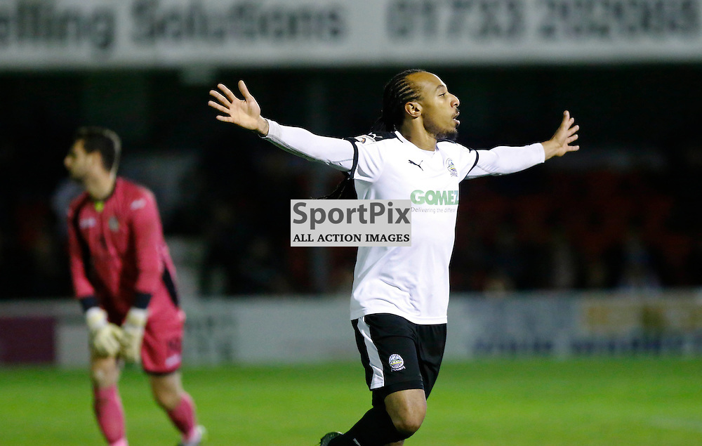 Dover's winger Ricky Modests (7) celebrates his goal. Dover Athletic v Eastleigh. Vanarama National League. 10  November 2015. (c) Matt Bristow | SportPix.org.uk