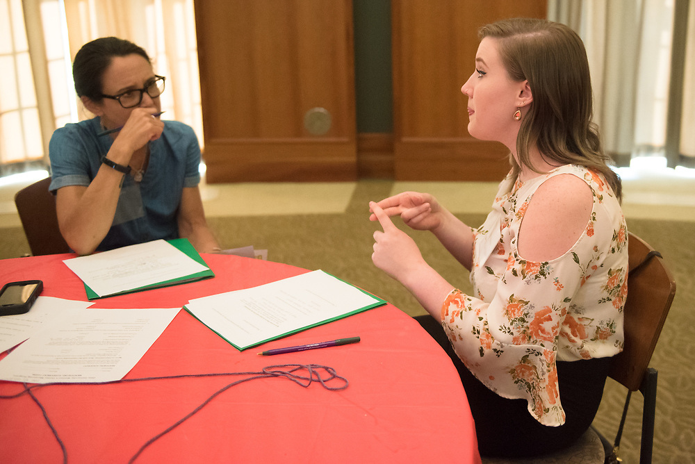 Student Rachel Bishop (left) talks with her mentor Kelee Riesbeck during the Women's Mentoring Meet and Greet event on Sept. 4, 2018 in Walter Rotunda. Photo by Hannah Ruhoff