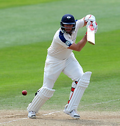 Yorkshire's Tim Bresnan drives the ball. Photo mandatory by-line: Harry Trump/JMP - Mobile: 07966 386802 - 27/05/15 - SPORT - CRICKET - LVCC County Championship - Division 1 - Day 4 - Somerset v Yorkshire - The County Ground, Taunton, England.