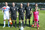 Officials, captains and mascot during the Vanarama National League Play Off second leg match between Forest Green Rovers and Dagenham and Redbridge at the New Lawn, Forest Green, United Kingdom on 7 May 2017. Photo by Shane Healey.