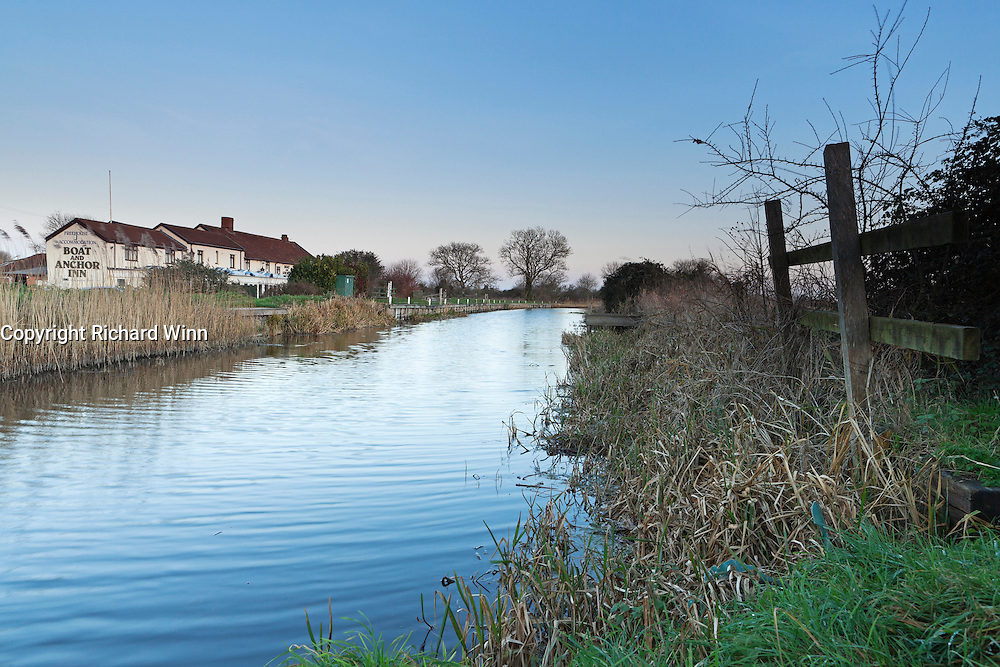 View of the Bridgwater and Taunton Canal, as it passes by the Boat and Anchor Inn, near Huntworth.