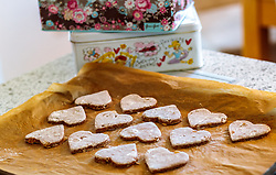 THEMENBILD - Lebkuchen Kekse in Reihen auf einem Backblech und Keksdosen, aufgenommen am 03. Dezember 2017, Kaprun, Österreich // Gingerbread biscuits in rows on a baking sheet and biscuit tins on 2017/12/03, Kaprun, Austria. EXPA Pictures © 2017, PhotoCredit: EXPA/ JFK
