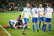Portsmouth players celebrate Portsmouth midfielder André Green's late winner during the The FA Cup 3rd round match between Norwich City and Portsmouth at Carrow Road, Norwich, England on 5 January 2019.