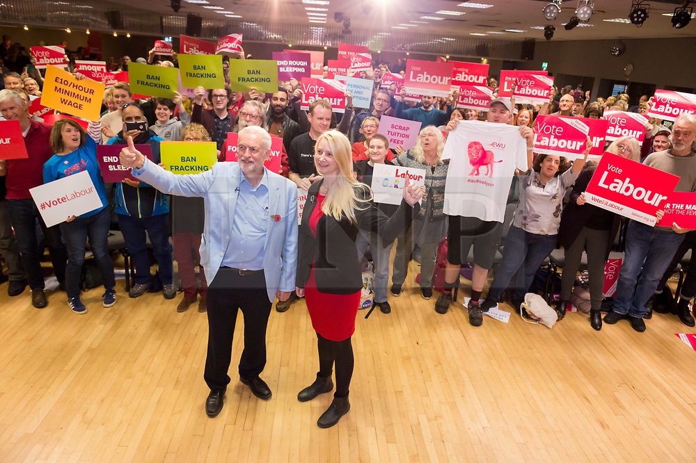© Licensed to London News Pictures. 02/11/2019. Bristol, UK.  Labour leader JEREMY CORBYN, with PPC for Filton and Bradley Stoke MHAIRI THRELFALL speaks at a campaign event at the start of Labour's general election campaign in the South West of England at the BAWA Club for the seat of Filton and Bradley Stoke, a Conservative-held marginal seat. Labour are promising the biggest people-powered campaign the country has ever seen. Photo credit: Simon Chapman/LNP.