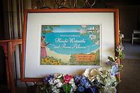 Hawaii-themed wedding welcome board design. Art by Hayataro Sakitsu.