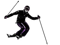 one  woman skier skiing slaloming in silhouette on white background