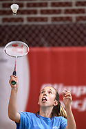 Katowice, Poland - 2018 June 11: Special Olympics Athlete Agnieszka Brzezinska competes in women's badminton competition during National Special Olympics Games 2018 at AWF Katowice on June 11, 2018 in Katowice, Poland.<br /> <br /> Adam Nurkiewicz declares that he has no rights to the image of people at the photographs of his authorship.<br /> <br /> Picture also available in RAW (NEF) or TIFF format on special request.<br /> <br /> Any editorial, commercial or promotional use requires written permission from the author of image.<br /> <br /> Image can be used in the press when the method of use and the signature does not hurt people on the picture.<br /> <br /> Mandatory credit:<br /> Photo by © Adam Nurkiewicz / Mediasport