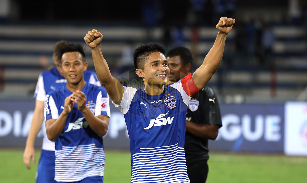 Sunil Chhetri of Bengaluru FC celebrates after winning the first semi final 2nd leg of the Hero Indian Super League between Bengaluru FC and FC Pune City  held at the Sree Kanteerava Stadium, Bengaluru, India on the 11th March 2018 <br /> <br /> Photo by: Sandeep Shetty  / ISL / SPORTZPICS