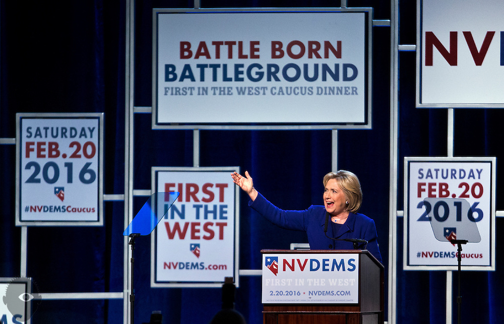 "Hillary Clinton addresses supporters during the Nevada State Democratic Party ""Battle Born / Battleground"" First in the West Caucus Dinner at The MGM Grand on Wednesday, January 6, 2015.  L.E. Baskow"
