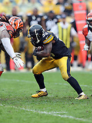 Pittsburgh Steelers running back Fitzgerald Toussaint (33) runs for a late fourth quarter first down at the Cincinnati Bengals 20 yard line during the 2016 NFL week 2 regular season football game against the Cincinnati Bengals on Sunday, Sept. 18, 2016 in Pittsburgh. The Steelers won the game 24-16. (©Paul Anthony Spinelli)
