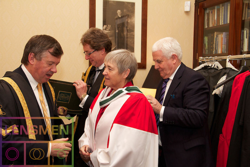 """Honorary Conferring 2011. .Royal College of Physicians in Ireland, Thursday 1 December at 4.30 p.m...The National University of Ireland Honorary Conferring Ceremony will take place on the 1st of December in the Corrigan Hall, Royal College of Physicians in Ireland...Pictured at The National University of Ireland Honorary Conferring Ceremony were:.Dr Kieran Mulvey,.Dr Michael L. Brodie, .Dr Diarmuid O Muirithe, .Dr Anne Anderson and Dr Maureen O'Rourke Murphy. ..The Chancellor of the University, Dr Maurice Manning will confer Honorary Degrees on the following;. .Anne Anderson                              Permanent Representative of Ireland to the UN  LLD     .Dr Michael L. Brodie                       Chief Scientist of Verizon Services Operations DSc.Dr Diarmaid Ó Muirithe                    Historical Lexicographer DLitt Celt.Kieran Mulvey                                Chief Executive of the Labour Relations Commission LLD.Professor Maureen O'Rourke Murphy   Hofstra University, New York DLitt. .Outlining Anne Anderson's exceptional record of dedicated service and her illustrious career as a member of our diplomatic service. Professor Philip Nolan, President of NUI Maynooth said:. .""""There have been three central themes to Anne Anderson's contribution to diplomacy and public life: the process of building peace and resolving conflict in Northern Ireland, the development of the European Union, and our relationship with and involvement in the United Nations'. Her more recent diplomatic career is dominated by her role in the EU and the UN, building on her early experiences to become one of Ireland's outstanding diplomats."""". .""""Whether in multilateral diplomacy or in bilateral relations she combines forensic attention to detail with an ability to see the big picture.  A thread running through the performance of all her distinguished postings has been her deep sense of integrity and her unwavering commitment, She has approached the most sensitive of roles"""