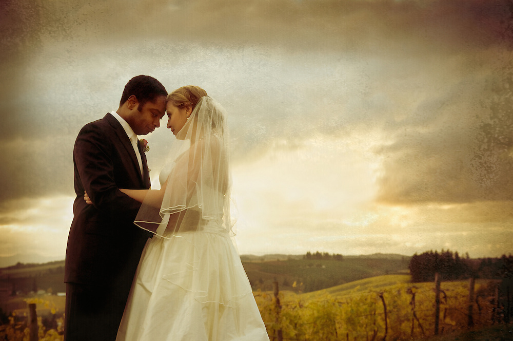 Bride and groom scenic view at Willamette Valley Vineyard Fall Wedding