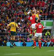 Wales Liam Williams and Australia's full back Israel Folau challanging for a high ball. Wales have adopted a kicking game during the Rugby World CupPool A match between Australia and Wales at Twickenham, Richmond, United Kingdom on 10 October 2015. Photo by Matthew Redman.