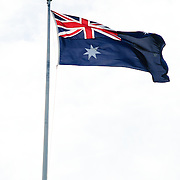 An Australian flag flying at Old Parliament House in Canberra, Australia