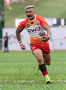 HONG KONG, HONG KONG SAR,CHINA. APRIL  21st, 2019. <br /> Global Rapid Rugby at Aberdeen Sports Ground Hong Kong.<br /> FWD South China Tigers win against the Asia Pacific dragons from Singapore.<br /> Nathan DE THIERRY makes a run to score the first try.