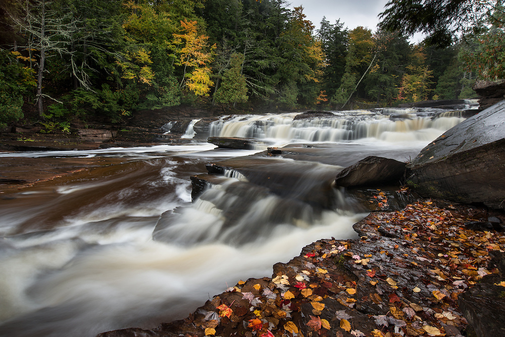 Manido Falls, one of several beautiful waterfalls along the scenic Presque Isle River.<br /> Porcupine Mountains Wilderness