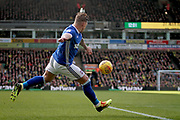 Ipswich Town striker Martyn Waghorn (9) gets in a shot during the EFL Sky Bet Championship match between Norwich City and Ipswich Town at Carrow Road, Norwich, England on 18 February 2018. Picture by Nigel Cole.