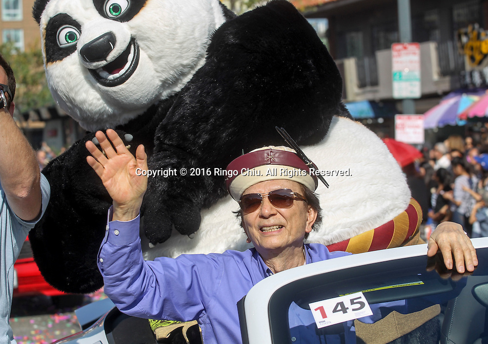 Actor James Hong and Po the panda wave during the 117th annual Chinese New Year &quot;Golden Dragon Parade&quot; in the streets of Chinatown in Los Angeles, Saturday Feb. 13, 2016. (Photo by Ringo Chiu/PHOTOFORMULA.com)<br /> <br /> Usage Notes: This content is intended for editorial use only. For other uses, additional clearances may be required.