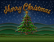 Graphic illustration of Merry Christmas with Christmas tree scene