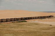 Coal train; southwest of Miles City; Montana
