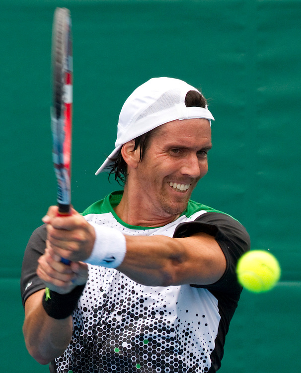 Argentina's Juan Ignacio Chela in his second round singles match against France's Benoit Paire at the Heineken Open Men's Tennis Tournament, Auckland, New Zealand, Wednesday, January 11, 2012.  Credit:SNPA / David Rowland