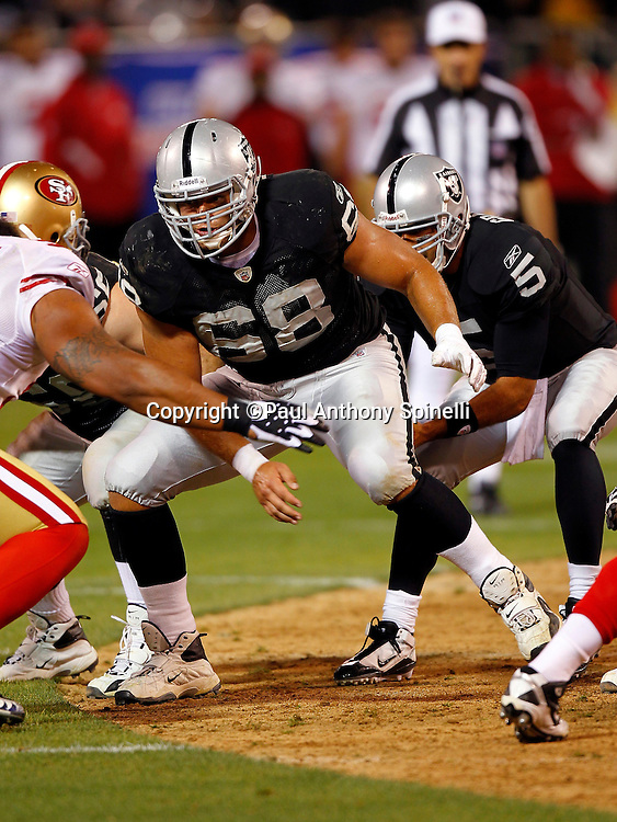 Oakland Raiders offensive tackle Jared Veldheer (68) looks to block during the NFL preseason week 3 football game against the San Francisco 49ers on Saturday, August 28, 2010 in Oakland, California. The 49ers won the game 28-24. (©Paul Anthony Spinelli)