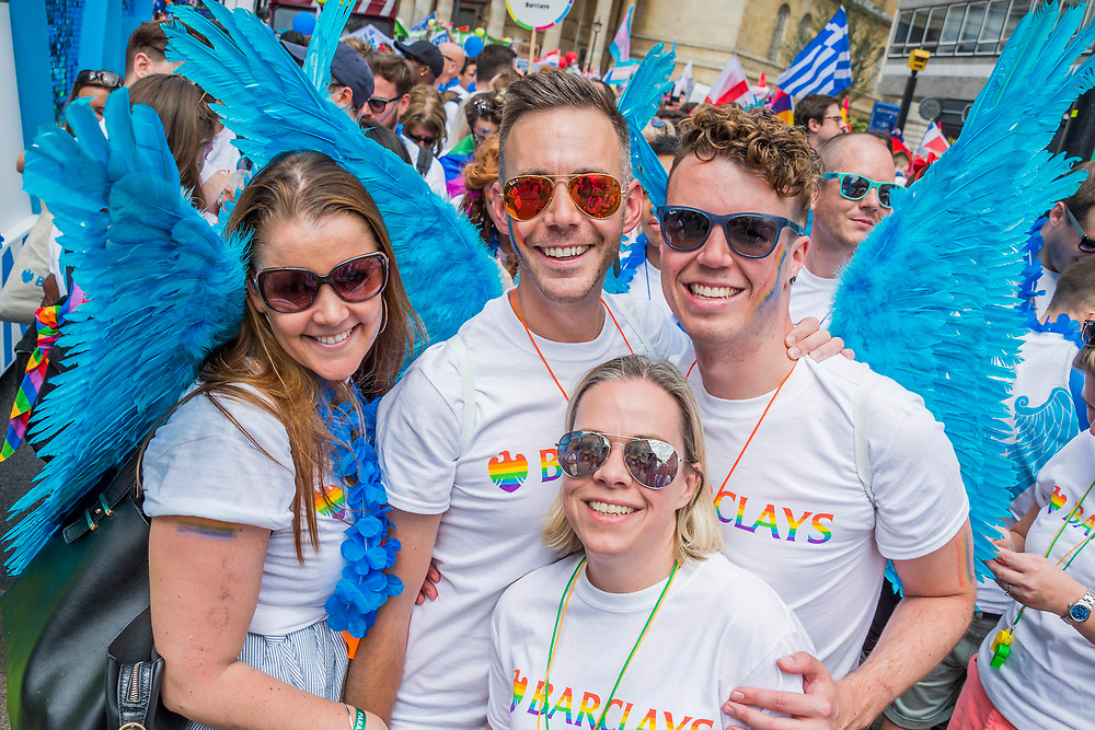 Barclays float crew with wings - The annual London Gay Pride march heads from Oxford Circus to Trafalgar Square.