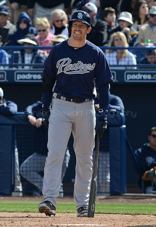 PEORIA, AZ - FEBRUARY 24:  John Baker #8 of the San Diego Padres at bat during the spring training game the Seattle Mariners at Peoria Sports Complex on February 24, 2013 in Peoria, Arizona.  (Photo by Jennifer Stewart/Getty Images) *** Local Caption *** John Baker
