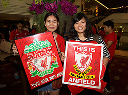 BANGKOK, THAILAND - Monday, July 13, 2015: Liverpool supporters Bangkok show off their autographs from the players at the Plaza Athenee team hotel in Bangkok on day one of the club's preseason tour. (Pic by David Rawcliffe/Propaganda)