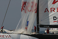 France's Areva Challenge races downwind on last leg of course during America's Cup fleet race; Valencia, Spain.