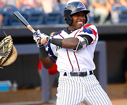 July 5, 2017 - Trenton, New Jersey, U.S - TITO POLO of the Trenton Thunder reacts after he is hit by a pitch in the first inning of the game vs. the Fightin Phils at ARM & HAMMER Park. He stayed in the game. (Credit Image: © Staton Rabin via ZUMA Wire)