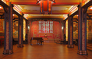 The Grand Salon in the Maison des Etudiants de l'Asie du Sud Est, or South East Asian House, originally called Maison de l'Indochine, designed by Pierre Martin and Maurice Vieu and inaugurated in 1930, in the Cite Internationale Universitaire de Paris, in the 14th arrondissement of Paris, France. The room is decorated in black, red and gold, with a clear South East Asian influence in the lantern, latticed screens, buddhist statue and patterns. The CIUP or Cite U was founded in 1925 after the First World War by Andre Honnorat and Emile Deutsch de la Meurthe to create a place of cooperation and peace amongst students and researchers from around the world. It consists of 5,800 rooms in 40 residences, accepting another 12,000 student residents each year. Picture by Manuel Cohen