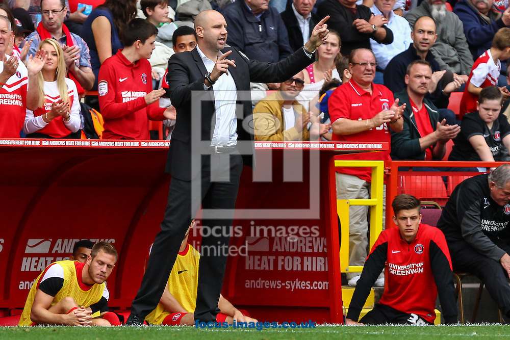 Bob Peeters Manager of Charlton Athletic passes on instructions during the Sky Bet Championship match at The Valley, London<br /> Picture by David Horn/Focus Images Ltd +44 7545 970036<br /> 27/09/2014