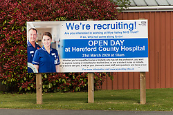 © Licensed to London News Pictures. 31/03/2020. Hereford, Herefordshire, Wales, UK. The Wye Valley NHS Trust has an open day today at 10.00am for recruiting staff at The County Hospital in Hereford City in Herefordshire, UK. Photo credit: Graham M. Lawrence/LNP