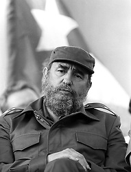 FIDEL ALEJANDRO CASTRO RUZ (August 13, 1926 - November 25, 2016), commonly known as Fidel Castro, was a Cuban politician and revolutionary who governed the Republic of Cuba as Prime Minister from 1959 to 1976 and then as President from 1976 to 2008. Politically a MarxistñLeninist and Cuban nationalist, served as the First Secretary of the Communist Party of Cuba from 1961 until 2011. Under his administration Cuba became a one-party socialist state; industry and business were nationalized, and state socialist reforms implemented throughout society. Castro was a controversial and divisive world figure. Supporters laud him as a champion of socialism, anti-imperialism, and humanitarianism, whose revolutionary regime secured Cuba's independence from American imperialism. Conversely, critics view him as a totalitarian dictator whose administration oversaw multiple human-rights abuses, an exodus of more than one million Cubans, and the impoverishment of the country's economy. Through his actions and his writings, he significantly influenced the politics of various individuals and groups across the world..FILE PICTURE: January 10, 1985 - Managua, Nicaragua - FIDEL CASTRO, at a political rally to support election of Sandinista FSLN candidate Ortega. Ortega won the1984 general election and the presidency with 67% of the vote and took office today. (Credit Image: © Scott Mc Kiernan via ZUMA Wire)