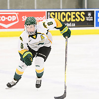 5th year forward Bailey Braden (8) of the Regina Cougars in action during the Women's Hockey home game on January 27 at Co-operators arena. Credit: Arthur Ward/Arthur Images