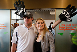 Anze Kopitar and his girlfriend  Ines Dominc at Slovenian ice-hockey player NHL Champion Anze Kopitar welcome ceremony when he arrived home after winning Stanley Cup at the end of season 2011/2012, on June 20, 2012, at airport Jozeta Pucnika, Brnik, Slovenia. (Photo By Matic Klansek Velej / Sportida)