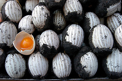 Detail of traditional Chinese salty duck eggs for sale in a market in Hong Kong