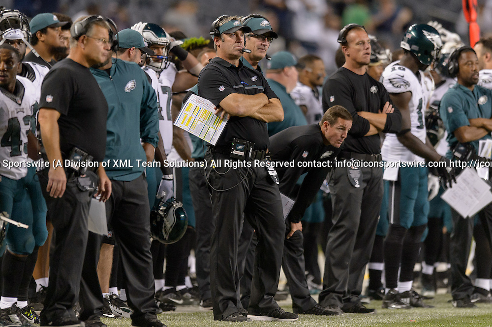 19 September 2016: Philadelphia Eagles Head Coach Doug Pederson during an NFL football game between the Philadelphia Eagles and the Chicago Bears at Solider Field in Chicago, IL. The Philadelphia Eagles won 29-14. (Photo by Daniel Bartel/Icon Sportswire)