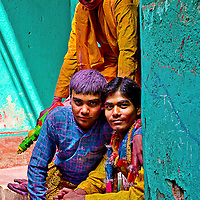 The entire village is ready for the celebration, and so are the kids. Braj ki Holi