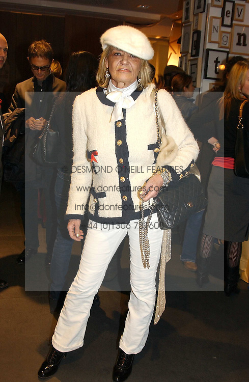 ANITA PALLENBERG at a Topshop hosted Jumbo Thrift Sale - a sale of designer fashion, in association with the Terence Higgins Trust for World Aids Day, held at Topshop, Oxford Circus, London on 1st December 2004.<br />