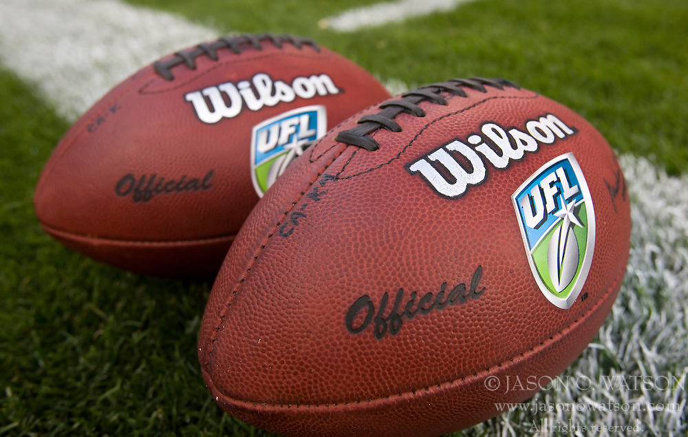 October 17, 2009; San Francisco, CA, USA;  UFL footballs before the game between the California Redwoods and New York Sentinels at AT&T Park. California won 24-7.