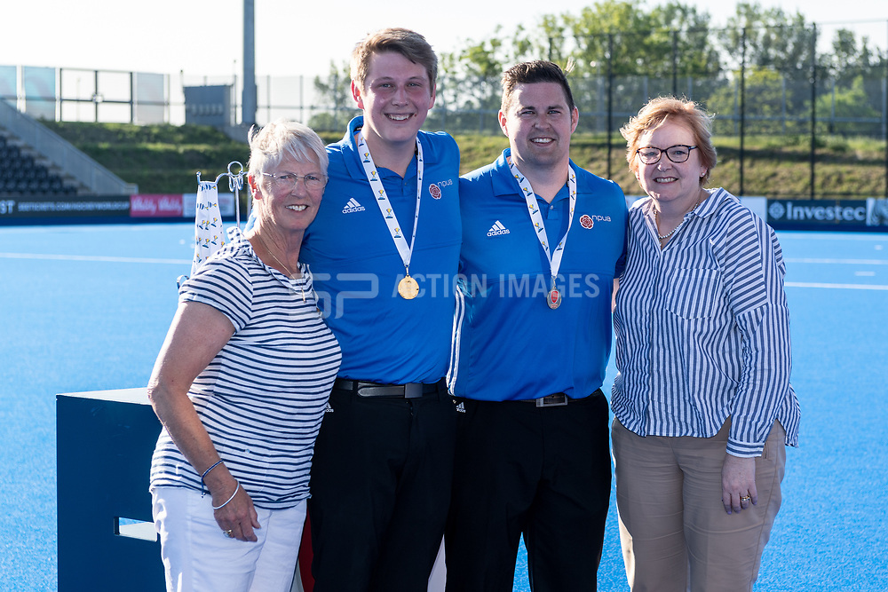 Lymm 1st XI v Oxted 2nd XI - Men's T3 Final, Lee Valley Hockey & Tennis Centre, London, UK on 07 May 2018. Photo: Simon Parker