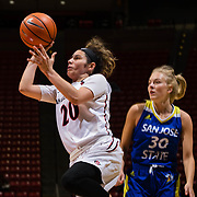 24 February 2018: The San Diego State women's basketball team closes out it's home schedule of the regular season Saturday afternoon against San Jose State. San Diego State Aztecs guard Geena Gomez (20) attempts a shot in the first half. At halftime the Aztecs lead the Spartans 36-33 at Viejas Arena.<br /> More game action at sdsuaztecphotos.com